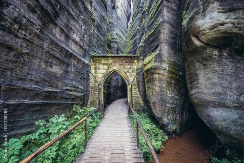 Stone gate in Adrspach Teplice Rocks landscape park in Broumov Highlands region Poster