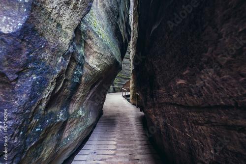 Narrow path in Adrspach Teplice Rocks landscape park in Broumov Highlands region Poster