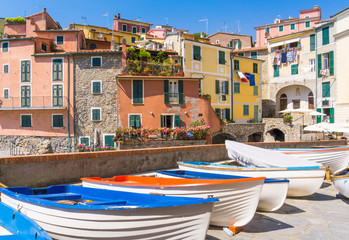 Panoramic view of beautiful Tellaro village, Lerici, La Spezia, Italy