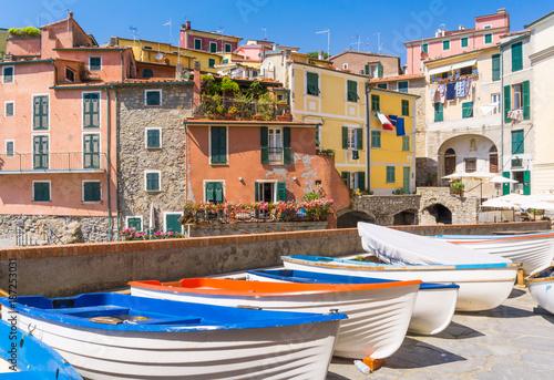Foto op Plexiglas Liguria Panoramic view of beautiful Tellaro village, Lerici, La Spezia, Italy
