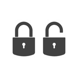 Lock and Unlock icon in trendy style - simple flat design isolated on white background, vector - 187254098
