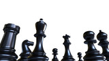chess pieces, black game figures