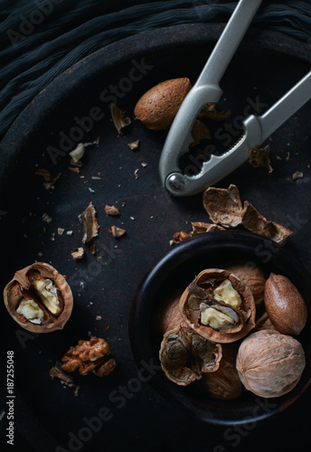 assorted nuts on rustic background - 187255048