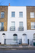 Angel, London, UK - January 2018: Facade of Edwardian Victorian restored residential houses in Angel, North London, UK