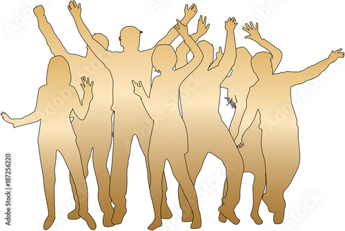 Dancing people silhouettes. - 187256220