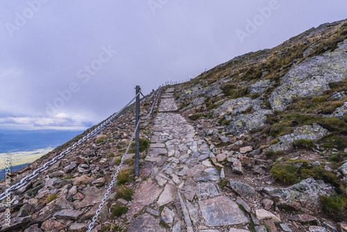 Tourist path to Mount Sniezka, the highest peak of Sudetes mountain on the Czech Poster