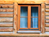 wall with window of modern log house in village - 187259810