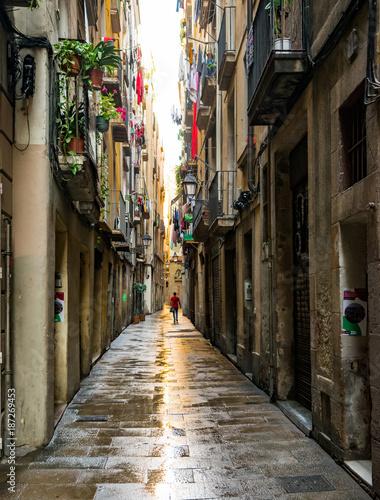 Aluminium Smalle straatjes Barcelona, Spain