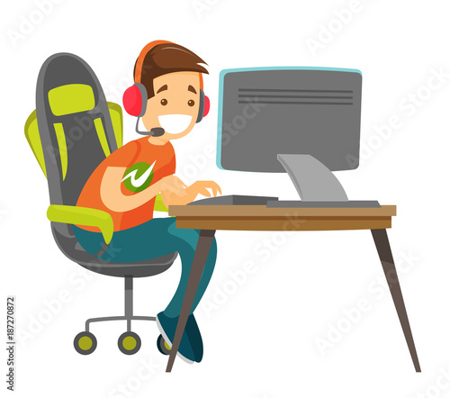 Caucasian white teenage gamer in headset playing video game on a computer on a cybersport tournament. Technology and gaming concept. Vector cartoon illustration isolated on white background.