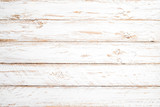 Vintage white wood background - Old weathered wooden plank painted in white color. - 187275047