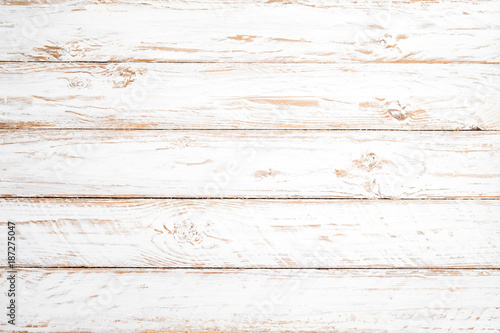 Naklejka Vintage white wood background - Old weathered wooden plank painted in white color.