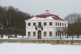 Marley palace on a cloudy February day. Peterhof - 187283416