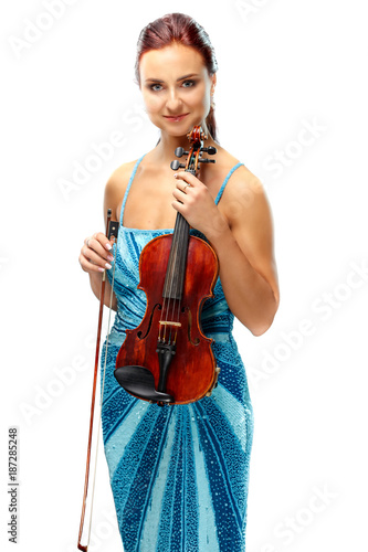Foto Murales Portrait of a young woman with a violin