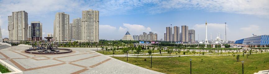ASTANA, KAZAKHSTAN - JULY 6, 2016: Panorama with the fountain Sak warriors