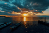 Bali beach with dramatic sky and sunset