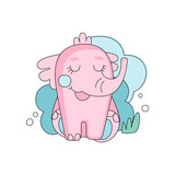 Cute hand drawn pink elephant sitting with closed eyes against blue fluffy cloud background. Linear design for fabric print, postcard or sticker. Flat vector illustration - 187288687