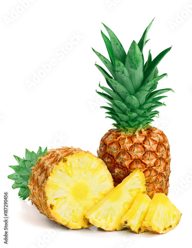 pineapple with slices isolated on white background - 187290456
