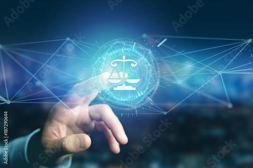 Foto Murales Justice balance icon on a futuristic interface
