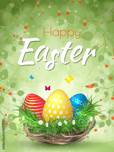 Happy Easter background with realistic Easter eggs. Easter card. - 187292815