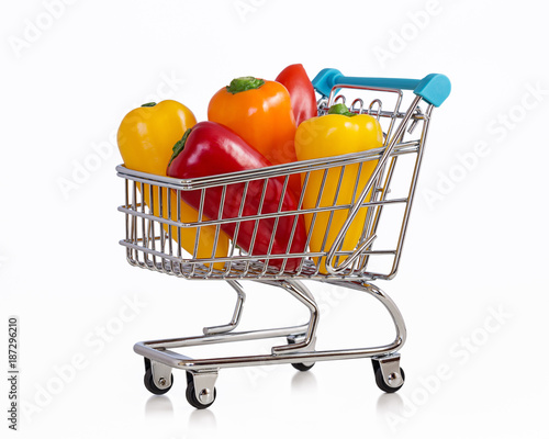 Multi-colored mini peppers in trolley. - 187296210