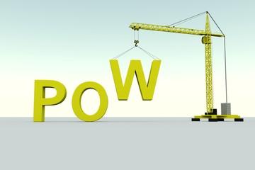 POW  building concept crane white background 3d illustration