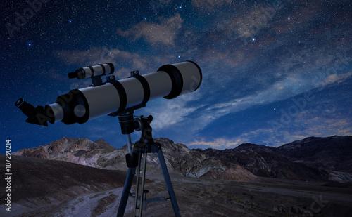 Foto op Aluminium Kasteel telescope on a tripod pointing at the night sky