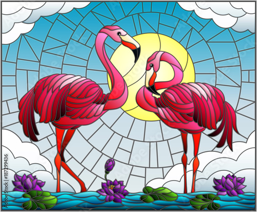ilustracja-w-stylu-witrazu-z-para-flamingo-kwiaty-lotosu-i-trzciny-na-staw-w-sloncu-niebo-i-chmury