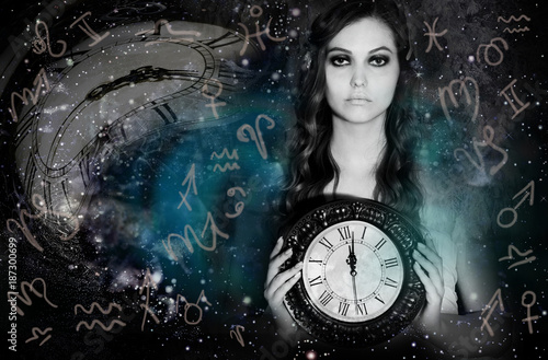 Foto Murales Woman ,space and astrology world