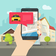 Online taxi on mobile phone and city vector illustration, flat carton design of smartphone, taxicab in bubble, map location destination, person calling or taking taxi in cellphone in town street