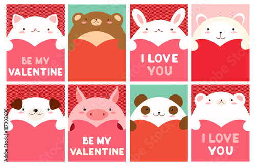 Valentine banner with cute animals - 187302600