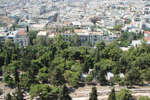 Keuken foto achterwand Olijf The landscape of the parks and streets of Athens, the capital of Greece, from the bird's-eye view.