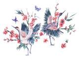 Watercolor crane and blooming branches of cherry - 187303666