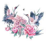 Watercolor nature card with crane and pink peonies - 187303810