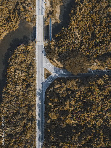 drone view of the highway in the forest