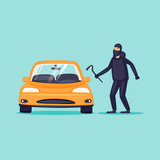 Thief steals cars, insurance. Flat design vector illustration. - 187306839