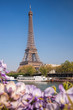 Eiffel Tower with boat during spring time in Paris, France