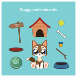 Cute cartoon puppy with relevant items