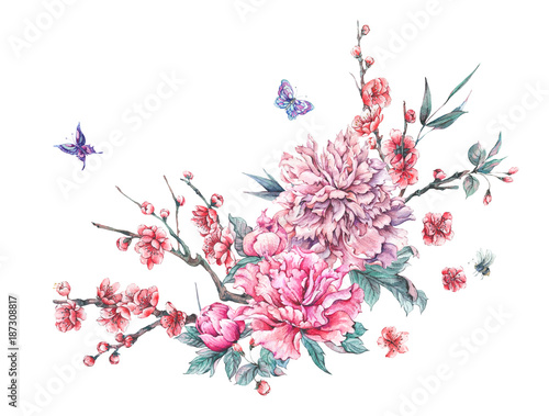 Watercolor blooming branches of cherry, peonies - 187308817