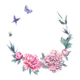 Watercolor round frame of pink peonies - 187309292