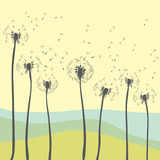 Dandelions blowing. Vector illustration of dandelions silhouettes on yellow background with nature in the distance - 187309616