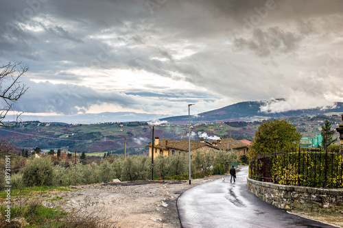 Deurstickers Florence Landscape of rural village in Florence, Italy