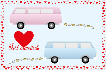 Just married - retro cars