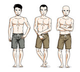Handsome men group standing wearing beach shorts. Vector different people characters set. Lifestyle theme male characters.