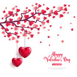 Valentine tree with heart shaped leaves - 187313800