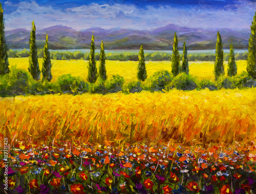 Poster Meloen Oil painting Italian summer tuscany landscape, green cypresses bushes, yellow field, red flowers, mountains and blue sky artwork image on canvas