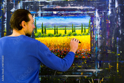 Deurstickers Toscane Artist paint with palette knife Italian tuscany cypresses landscape painting on canvas