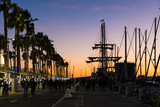 Beautiful sunset sky in the marina port in Malaga city. Andalusia, Spain.