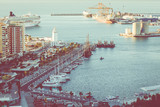 Panoramic view at the Marina place in Malaga. Malaga is the second-most populous city of Andalusia and the sixth-largest in Spain.