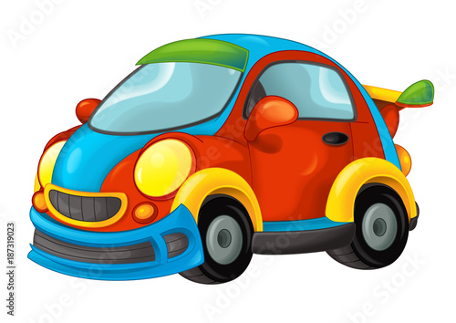 cartoon funny looking sports car - illustration for children - 187319023