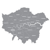 Greater London map showing all boroughs - 187319461